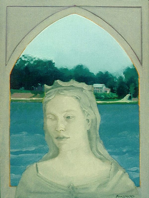 """Lady Katharine Guarding The Lake"", oil on canvas, 16 "" x 12"""