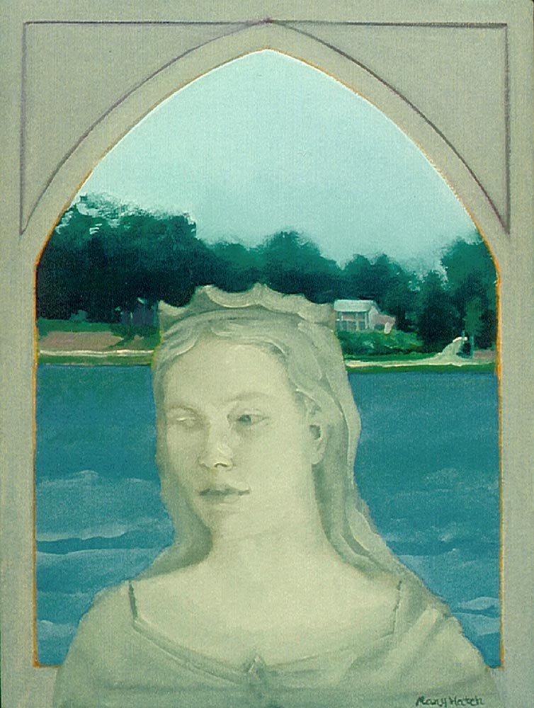 """""""Lady Katharine Guarding The Lake"""", oil on canvas, 16 """" x 12"""""""