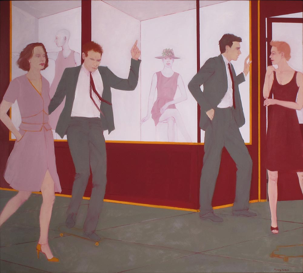 """On the Town"", 36"" x 40"", oil on linen"