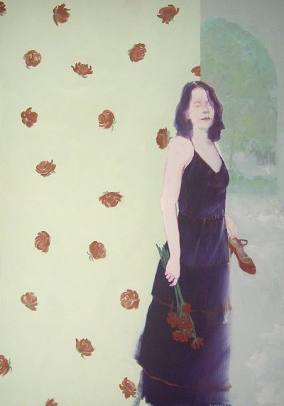 """Red Roses, Red Roses"", oil on linen, 48"" x 34"""