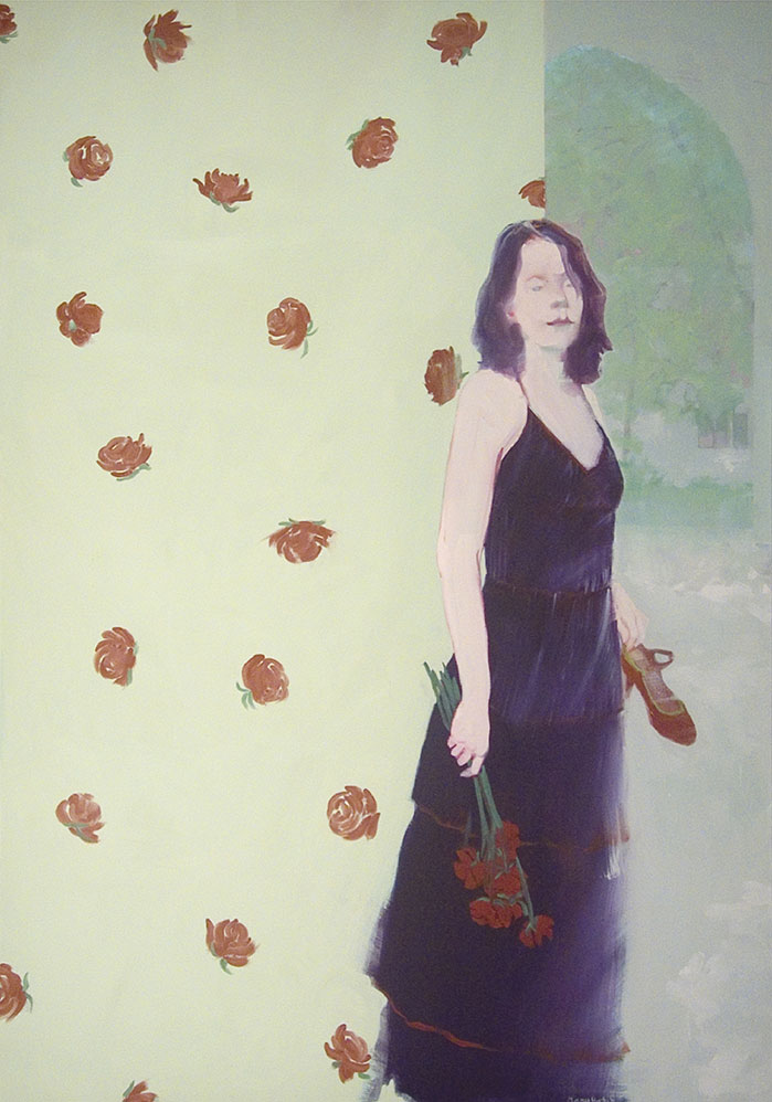 """""""Red Roses, Red Roses"""", oil on linen, 48"""" x 34"""""""