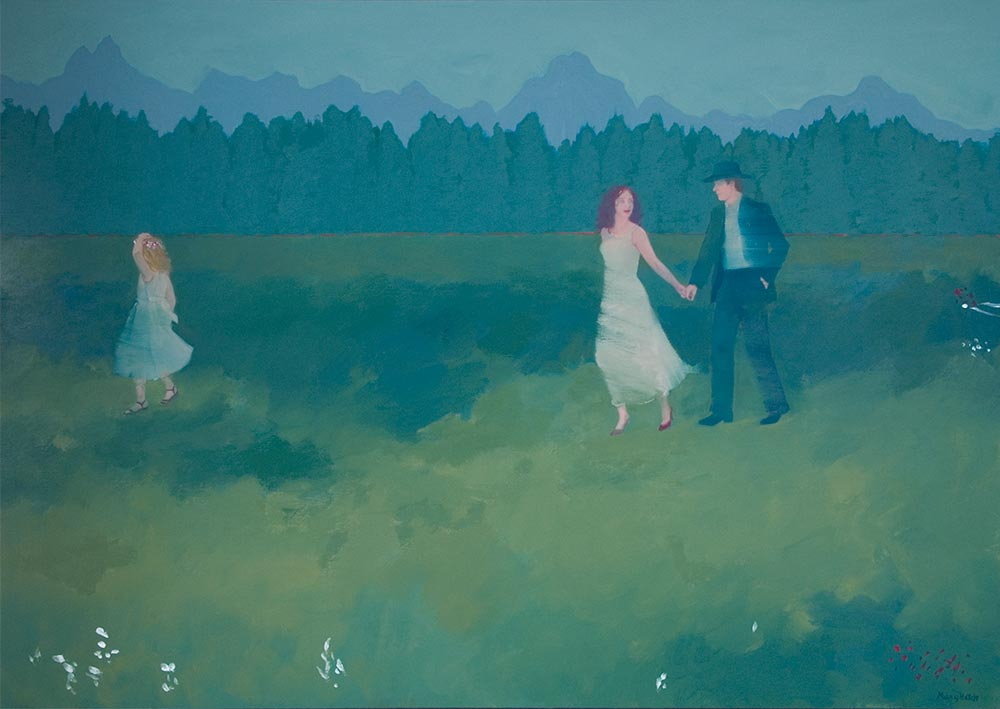"""""""The Cowboy & the Maiden"""", oil on linen, 34"""" x 48"""" SOLD"""
