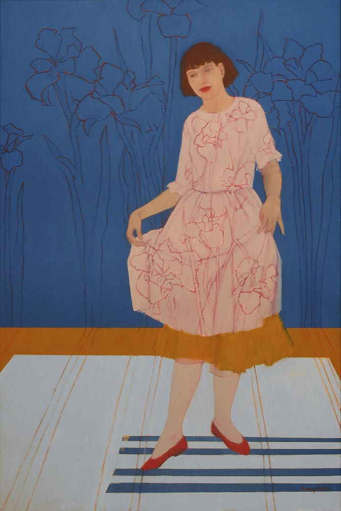 """""""The Curtsey"""", 36"""" x 24"""", oil on linen"""